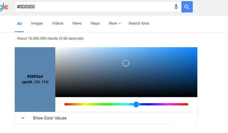 Google couleurs hexadecimales