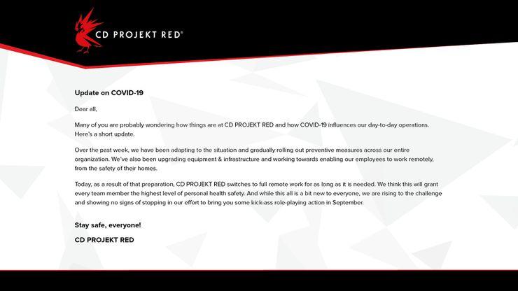 cyberpunk 2077 cd projekt red coronavirus covid 19
