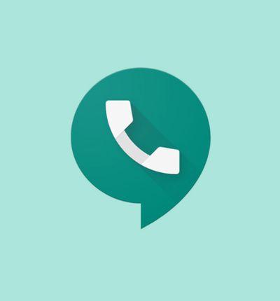 L'icone Google Voice sur un fond bleu.