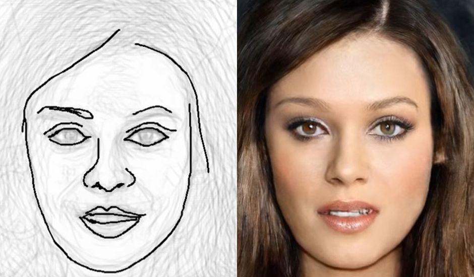 Le croquis du visage d'une femme à gauche et la photographie de la même femme à droite.
