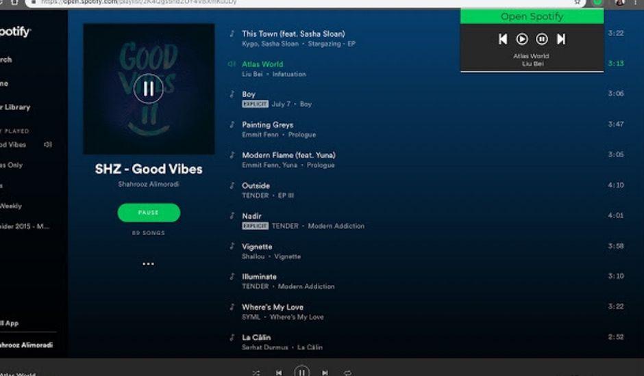 Une extension pour gérer Spotify