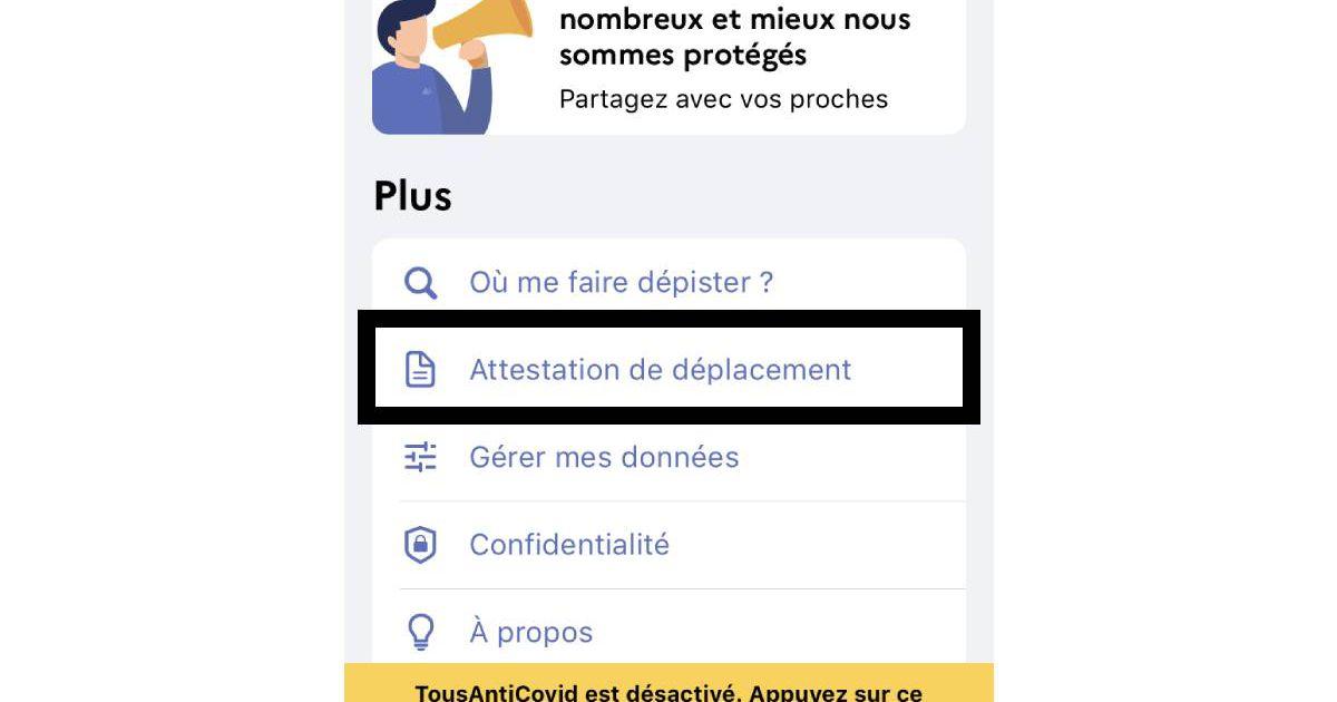 Capture d'écran de l'application TousAntiCovid