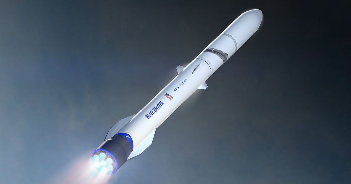 Vue d'artiste d'un Lanceur New Glenn dans l'espace.