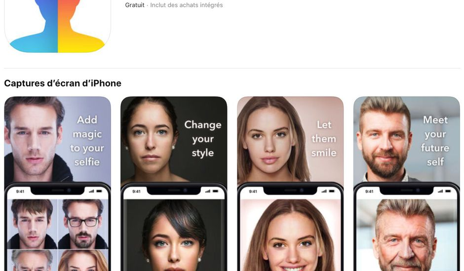 application FaceApp dans l'App Store