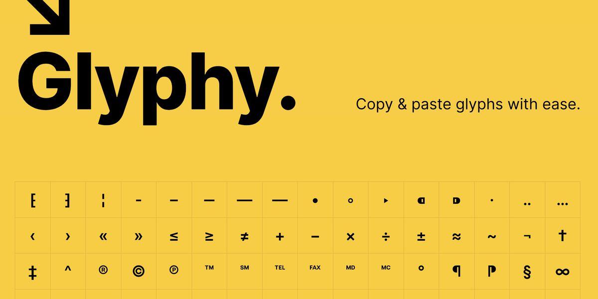 Glyphy : un outil pour facilement copier/coller les caractères spéciaux et symboles