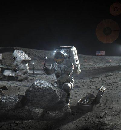 Des astronautes explorent la Lune.