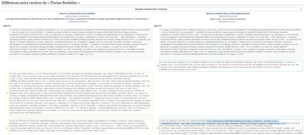 les pages Wikipédia avant et après modification