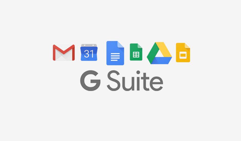 Logo de G Suite accompagné des icones de Gmail, Google Calendar, Dos, Sheet, Drive, et Slides.