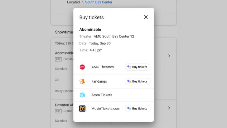 Sur Chrome, l'assistant de Google, Duplex va permettre de réserver des tickets pour le cinéma.