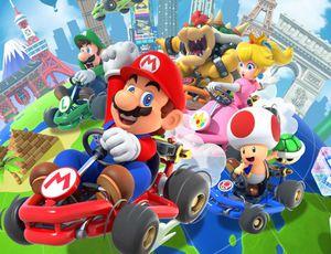 L'affiche du jeu Mario Kart tour développé par Nintendo