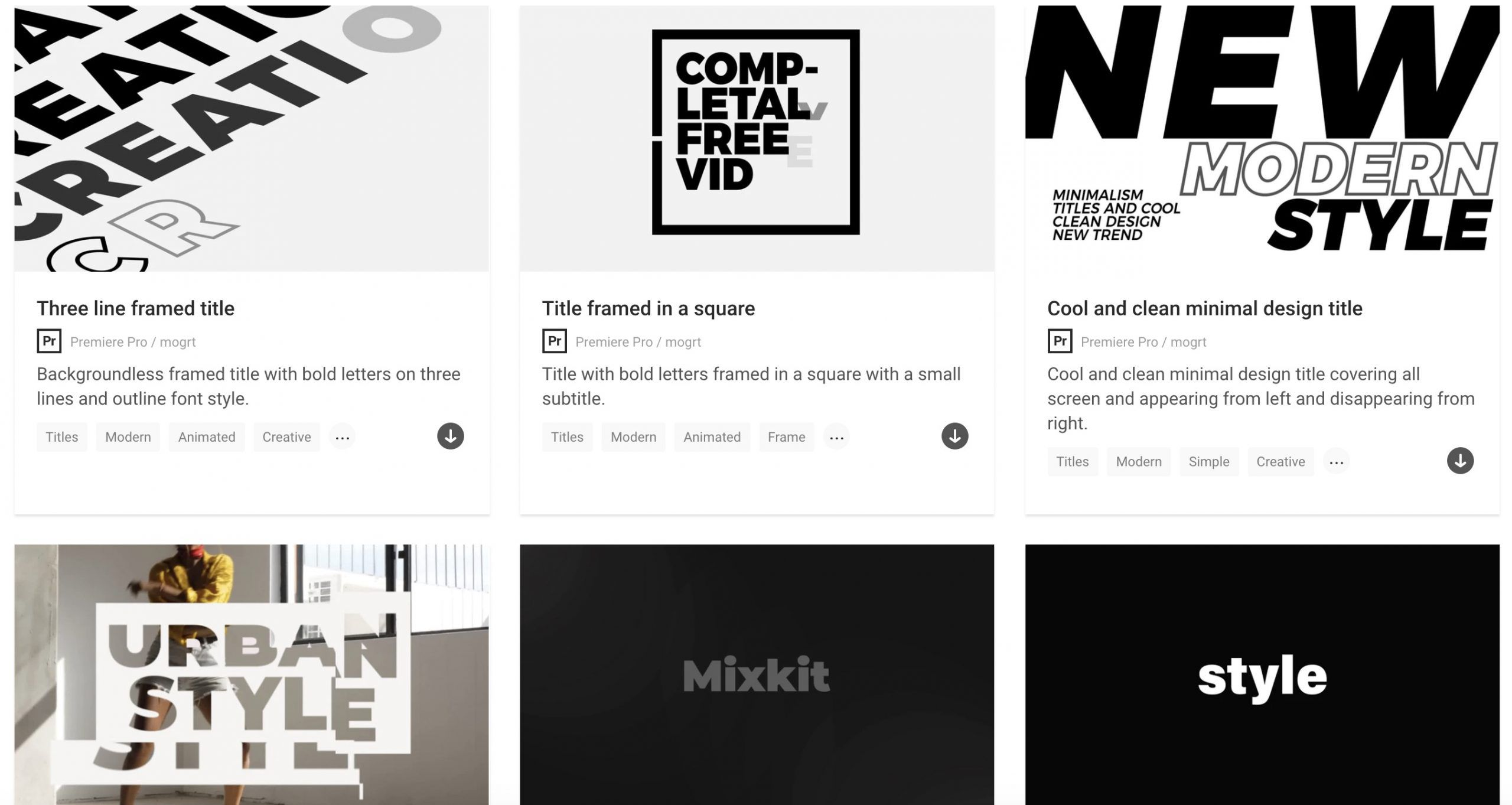 templates vidéo Mixkit