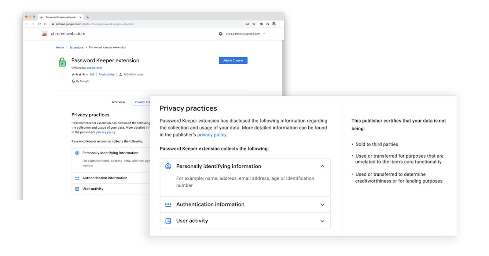 Présentation des données collectées en trois parties : données personnelles, information d'authentification, activité de l'utilisateur