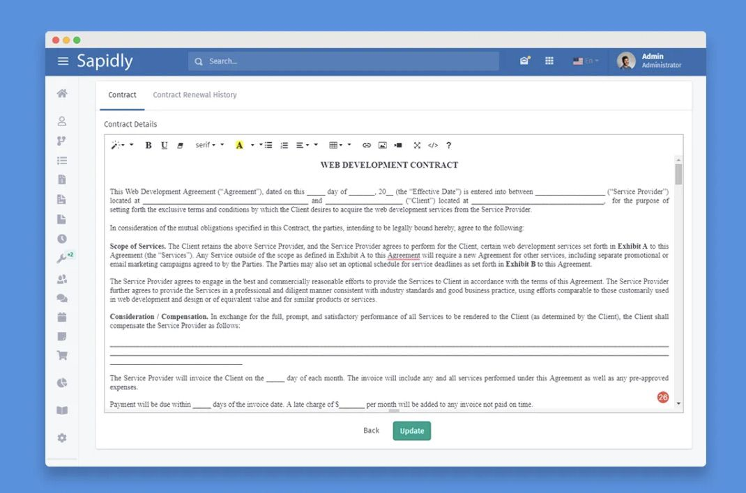 création et mise à jour d'un contrat sous Agiled