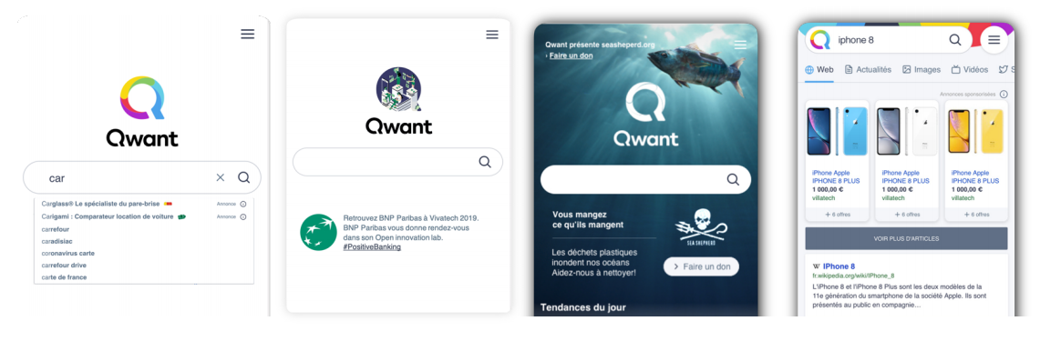 L'espace publicitaire de Qwant présenté dans des portables