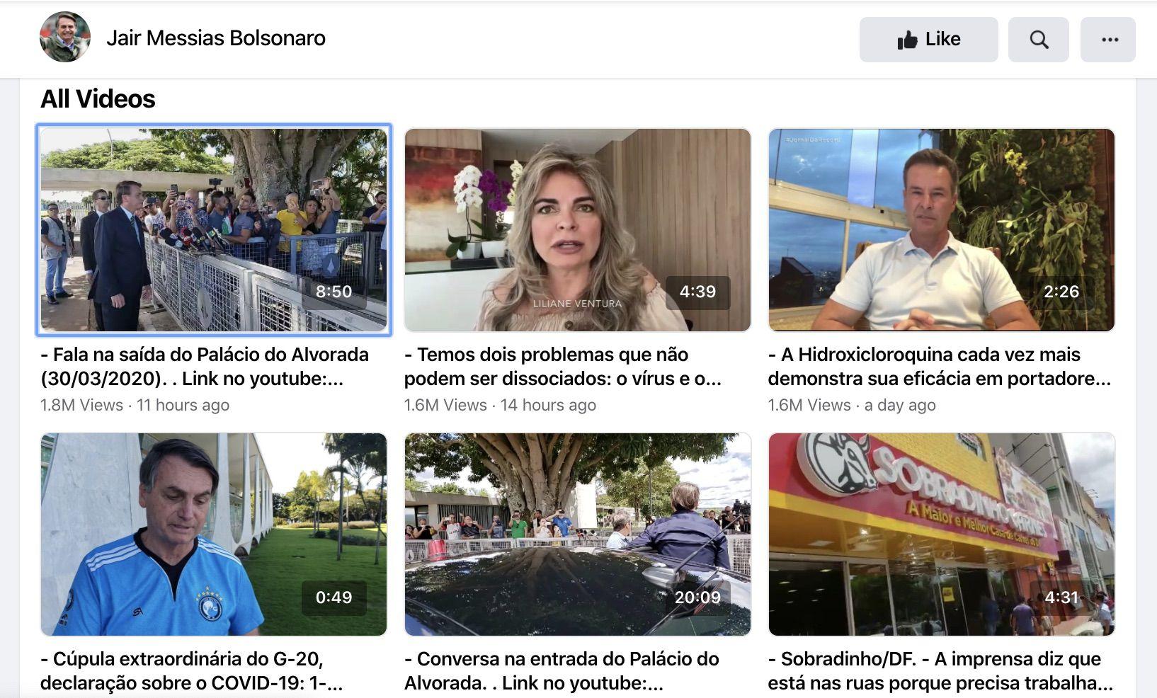 La vidéo de Bolsonaro a été supprimée.