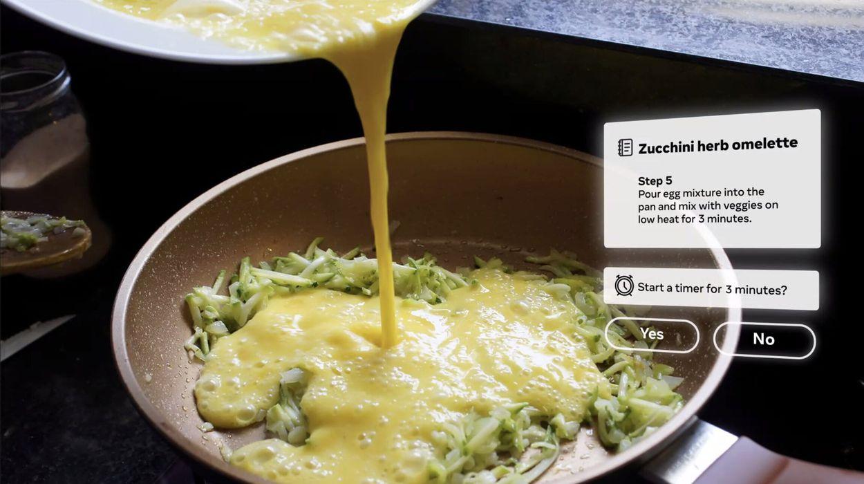Exemple d'utilisation du programme en réalité augmentée de Facebook lorsqu'on fait la cuisine