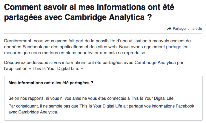 facebook suspend application frauduleuses suite à Cambridge analytica