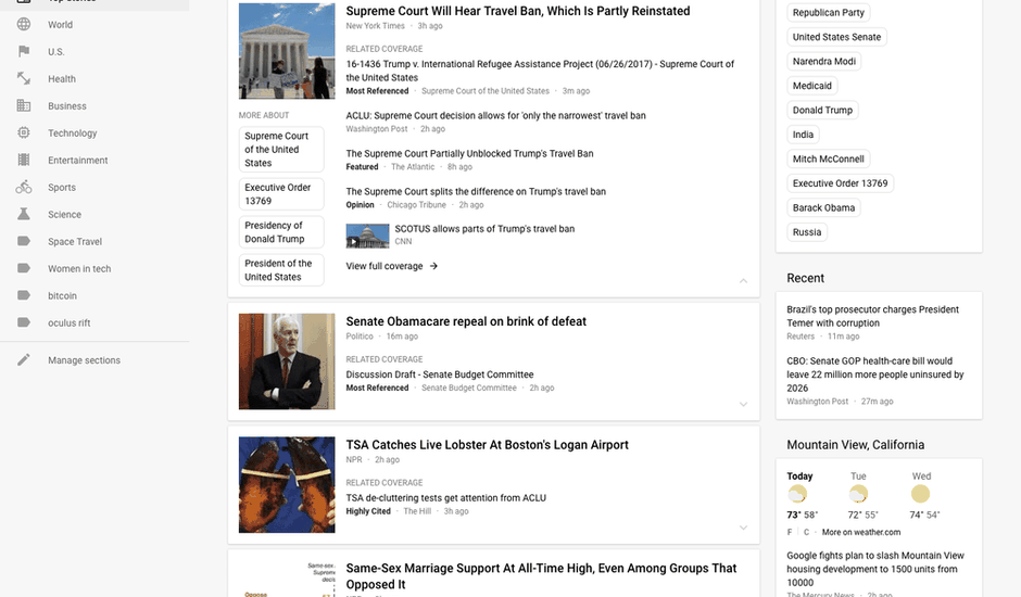 Google News Interface