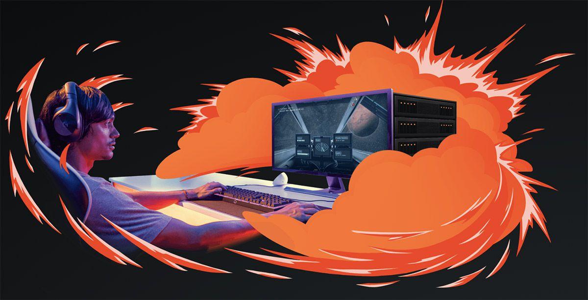 L'illustration d'un homme en train de jouer aux jeux vidéo à travers l'offre cloud computing de Shadow.
