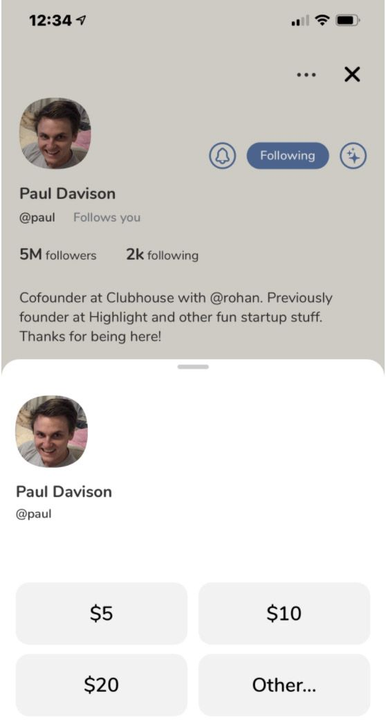 L'interface de dons sur Clubhouse.