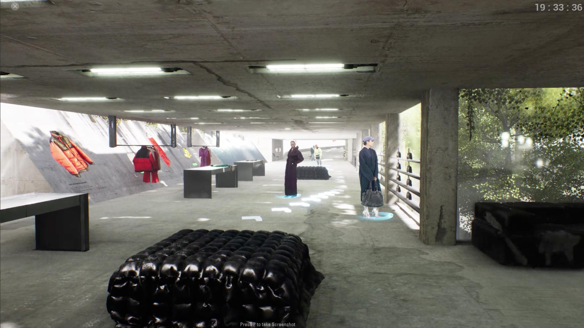 un showroom virtuel créé par balenciaga pour présenter sa nouvelle collection.