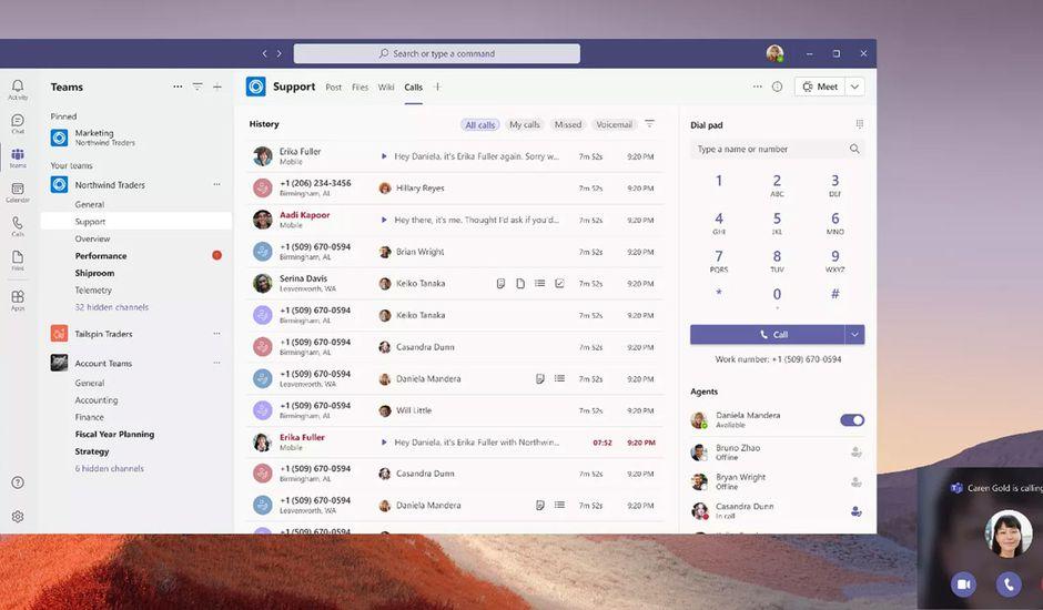 La nouvelle interface d'appels de Microsoft Teams.