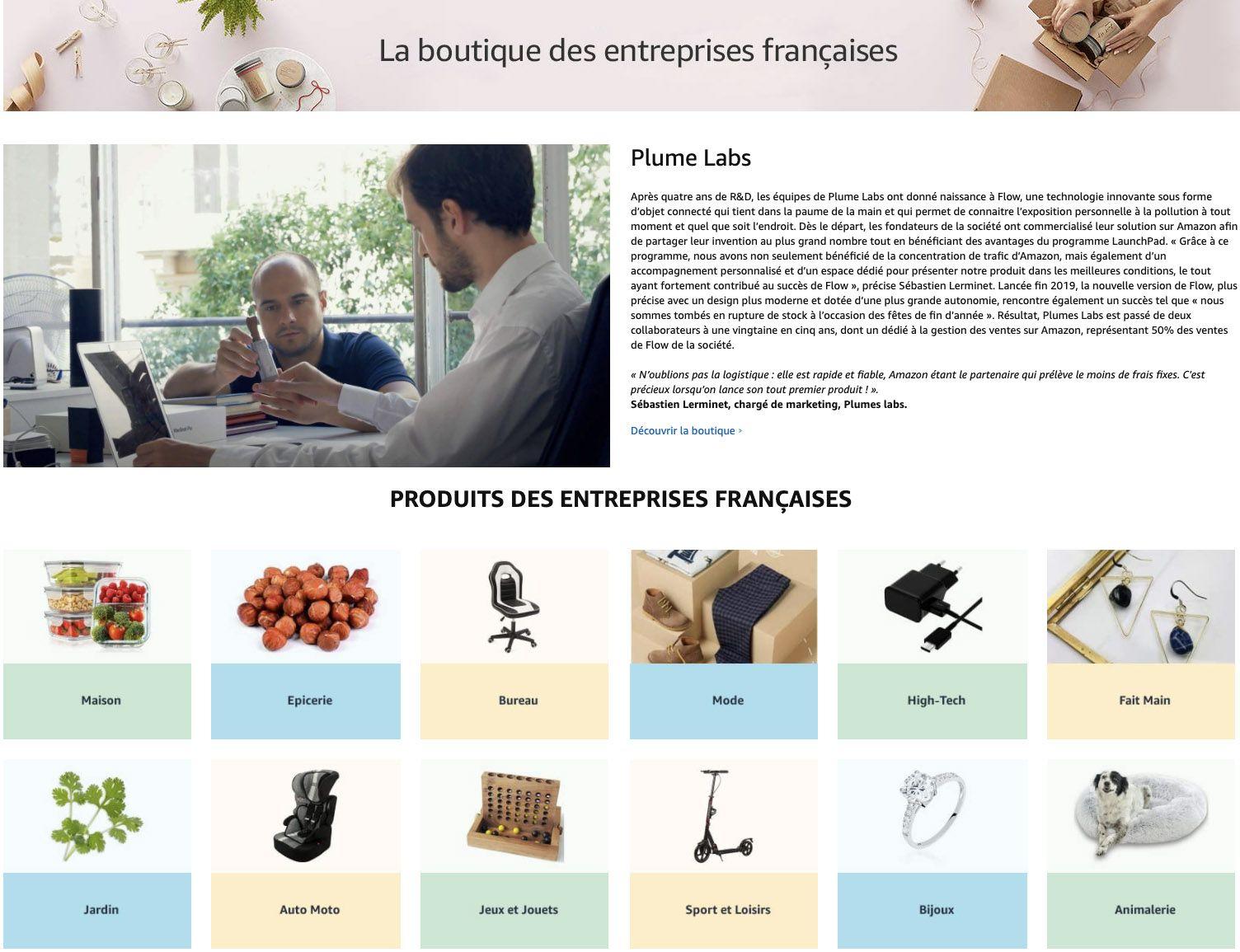 """La page de présentation de """"la boutique des entreprises françaises"""" sur Amazon"""