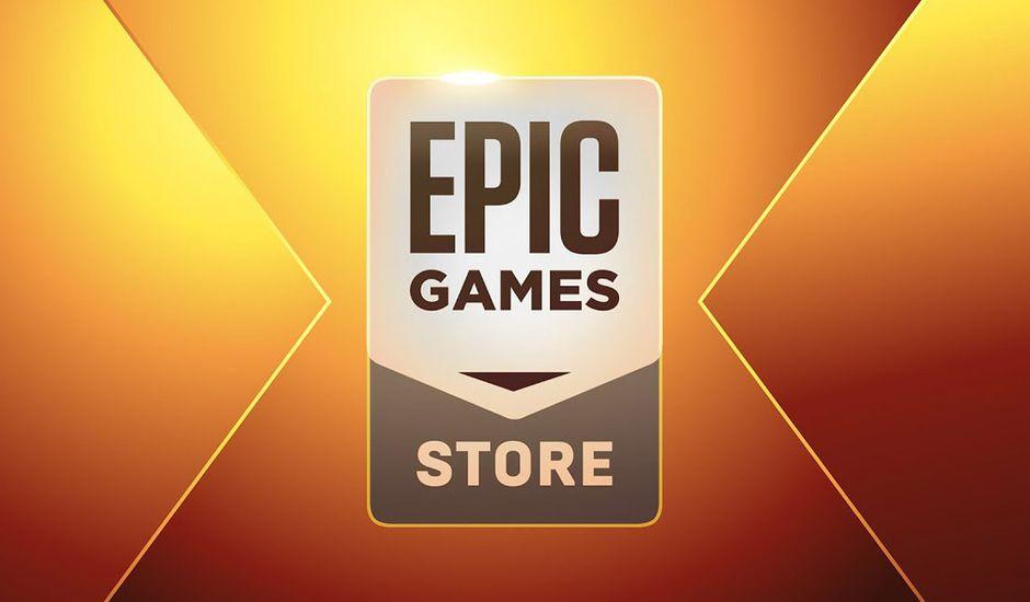 Le logo Epic Games Store sur un fond doré.