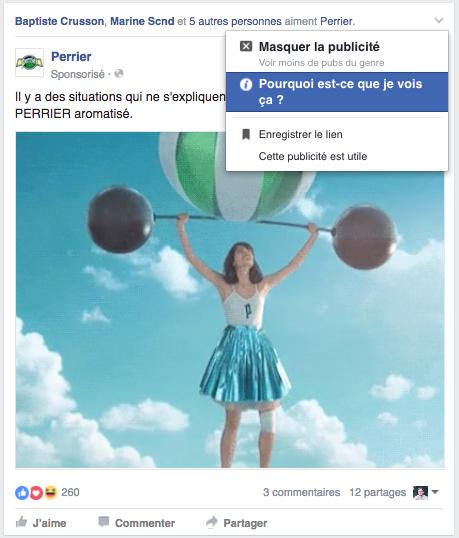 Publicité Facebook : la raison de la diffusion