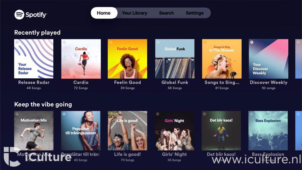 Rendu de l'application Spotify sur Apple TV