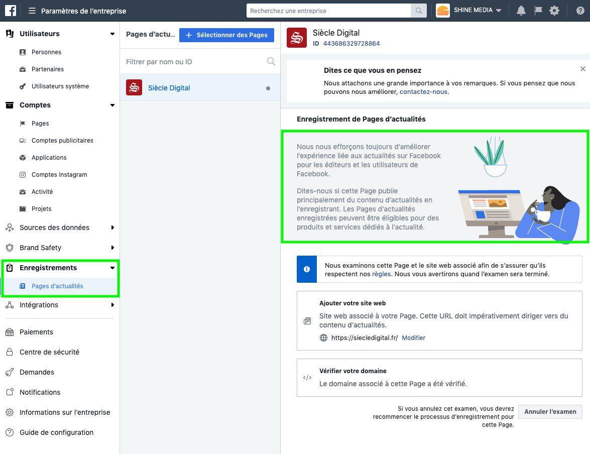 Capture d'écran de l'inscription d'un page d'acutalités dans le Business Manager
