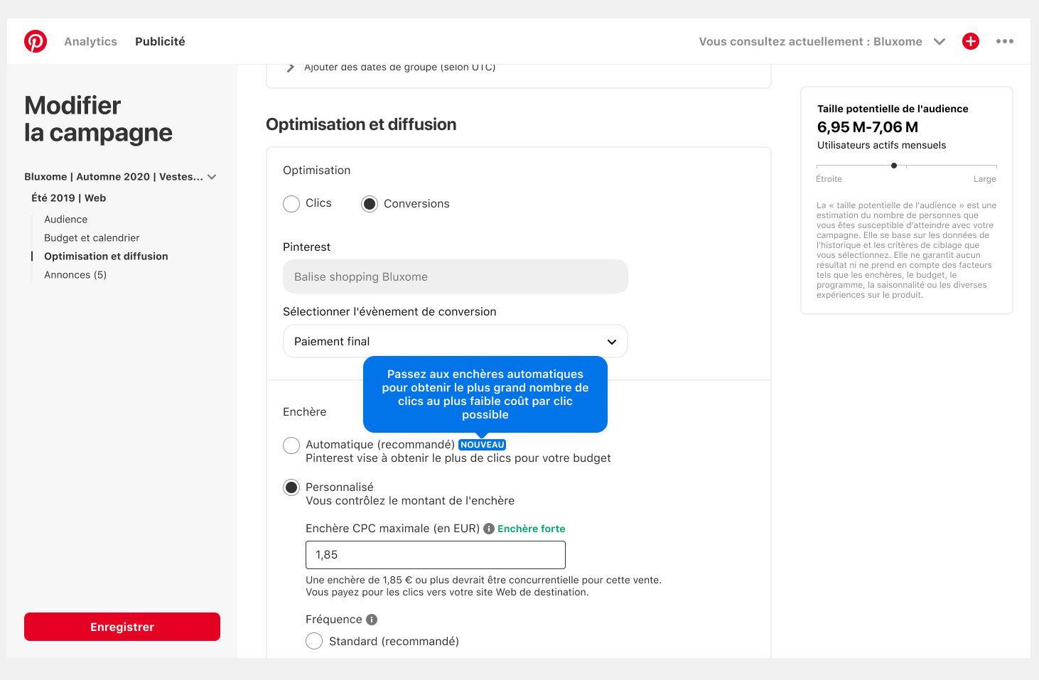 """Aperçu de l'option """"enchères automatiques"""" sur Pinterest."""