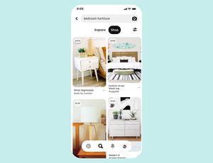 Pinterest : capture d'écran des nouvelles fonctionnalités shopping.