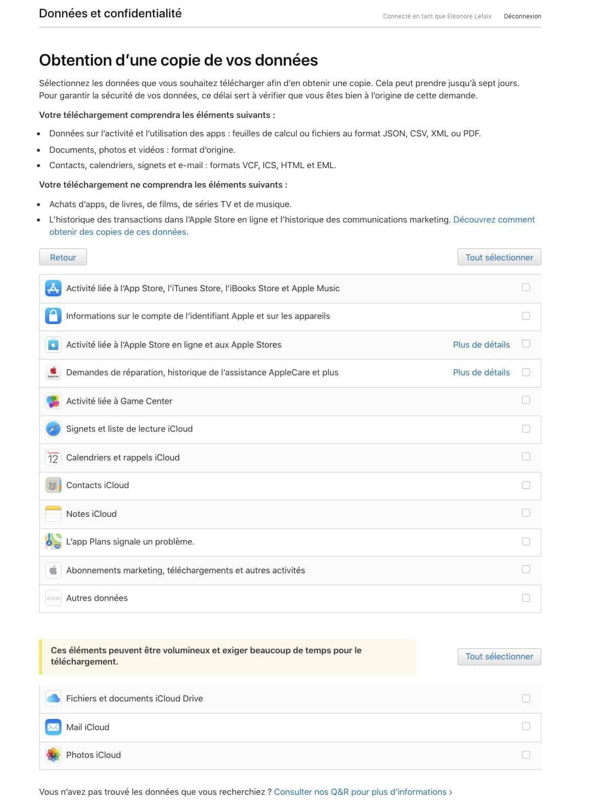 Il est désormais possible d'obtenir une copie des données dont Apple dispose