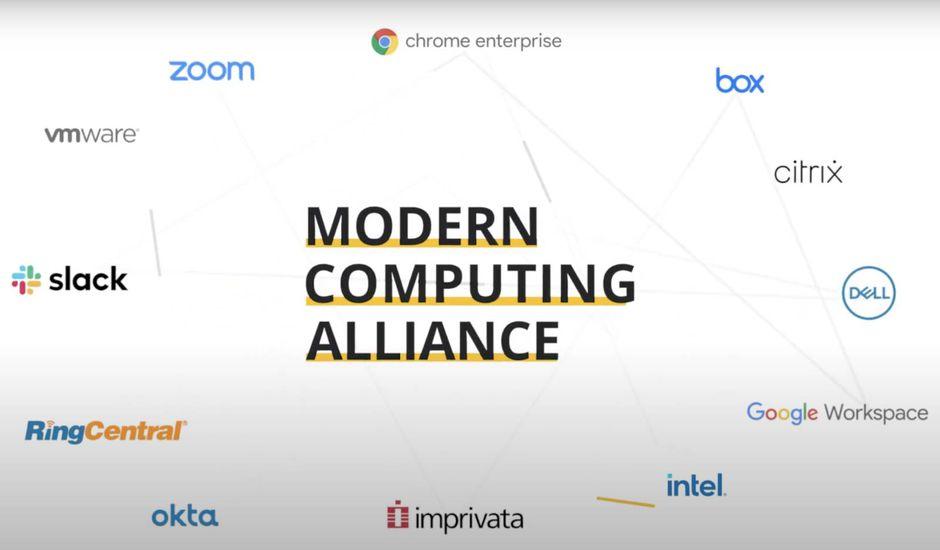Un schéma contenant les logos des entreprises membres de la Modern Computing Alliance.