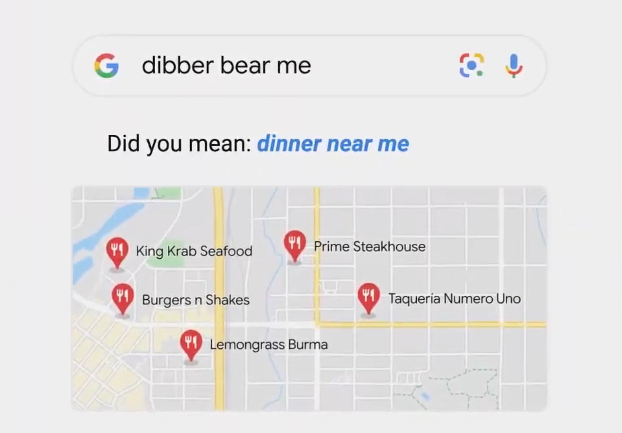 Illustration présentant l'amélioration de la compréhension des fautes d'écriture sur le moteur de recherche de Google