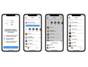 Des captures d'écran décrivant le fonctionnement du nouvel outil de Messenger destiné aux professionnels.