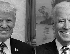 Trump et Biden portraits photo noir et blanc