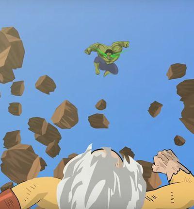 combat animé entre hulk et saitama du manga one punch man