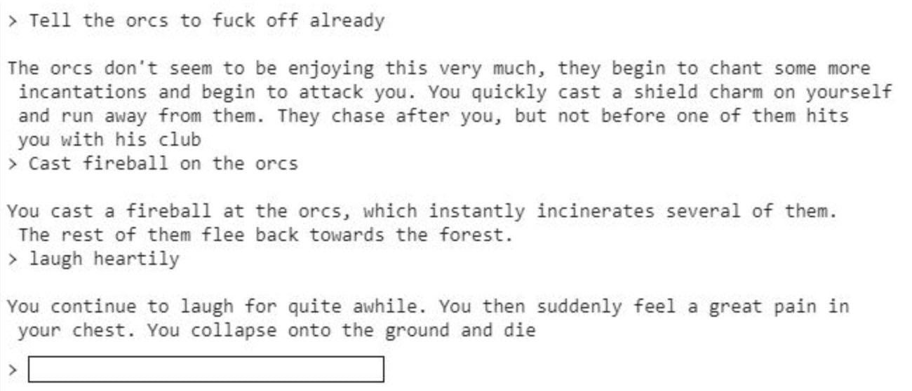 extrait d'une partie de AI Dungeon 2