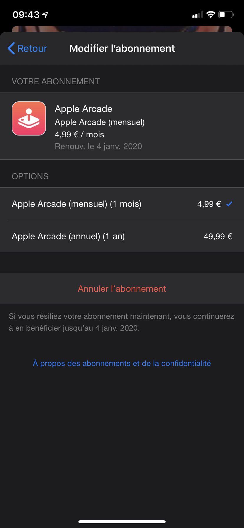 L'abonnement mensuel d'Apple Arcade