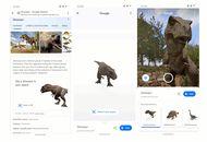Capture d'écran de l'interface proposée par Google pour observer les dinosaures en réalité augmentée.