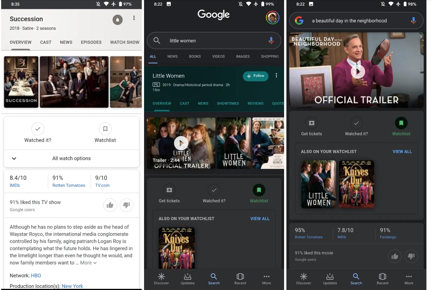 Capture écran nouvelle fonctionnalité Google