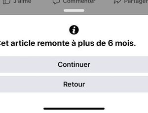 Message d'alerte présenté par Facebook lorsqu'un utilisateur partage un article ancien
