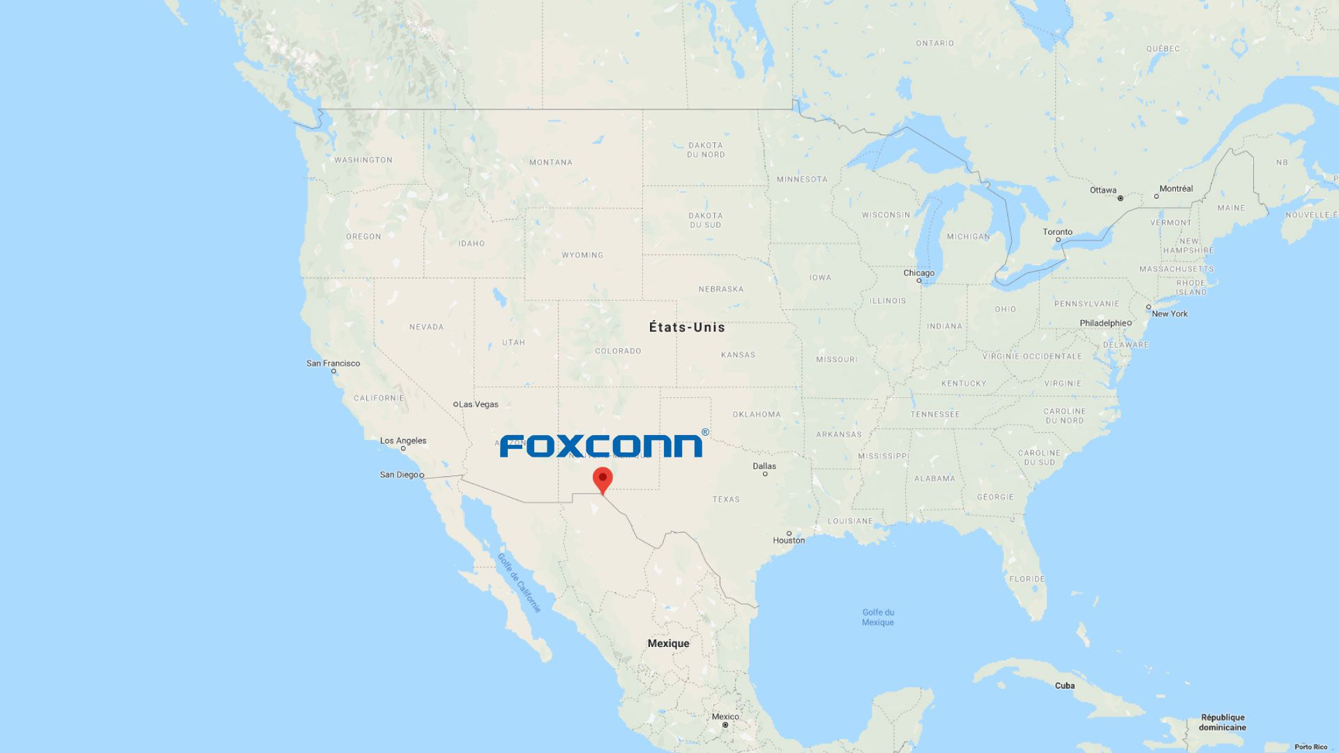 Carte positionnant les usines de Foxconn au Mexique