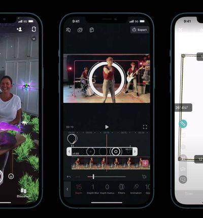 Trois smartphones montrent comment fonctionne la technologie LIDAR.