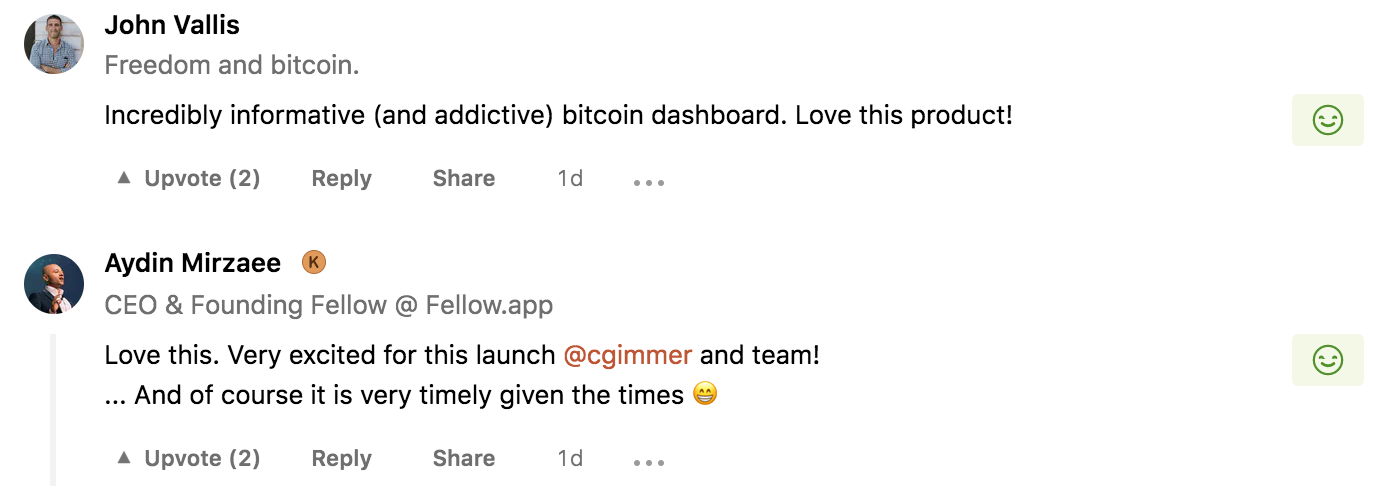 des avis sur le dashboard bitcoin
