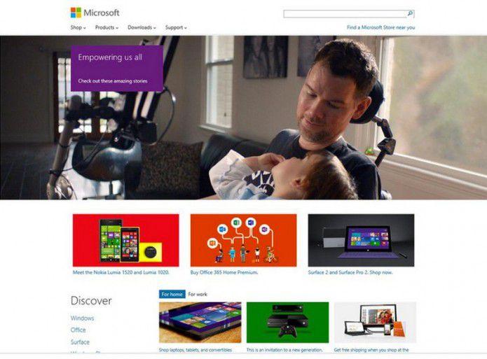 Homepage Microsoft.com 2014