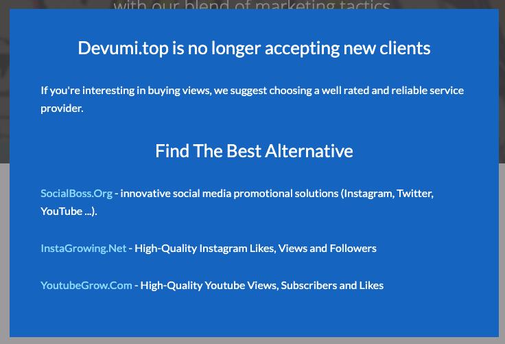 Message présenté sur le site de l'agence Devumi précisant qu'ils n'acceptent plus de nouveaux clients