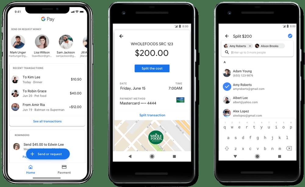 Envoi et demande de l'argent via Google Pay